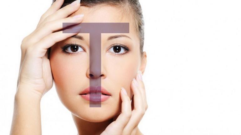 Т-зона на лице со смешанным типом кожи.