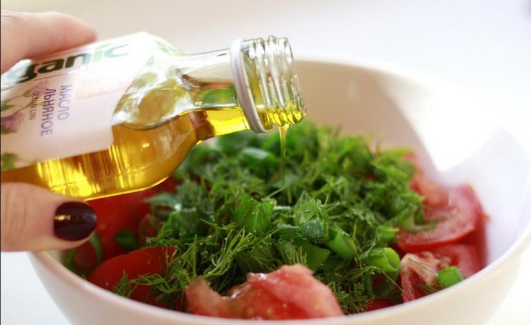 салат для похудения с льняным маслом