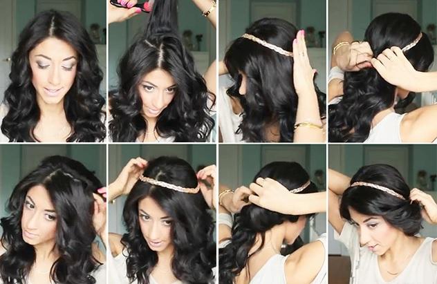 Прическа греческой красавицы на средних волосах