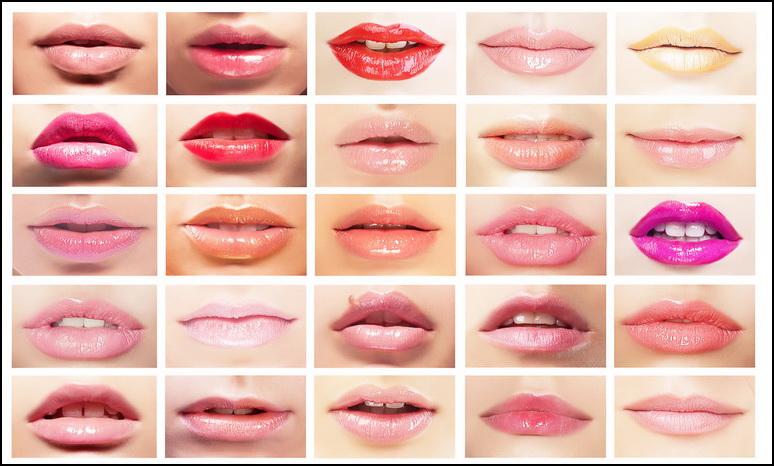 Помада на губах разной формы